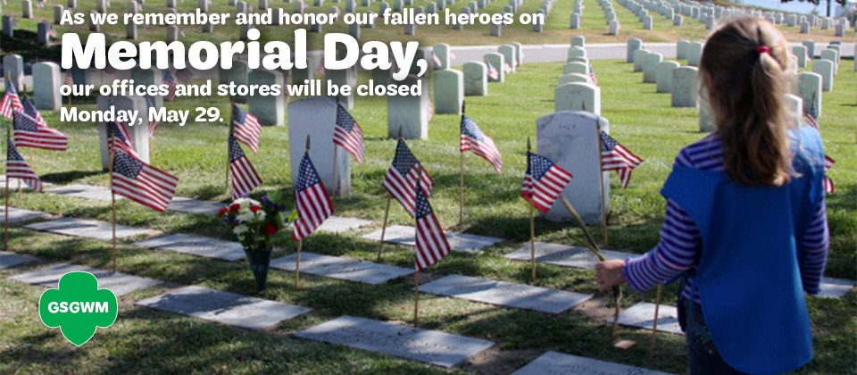 Our offices will be closed on Monday, May 29 in observance of Memorial Day.